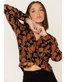 Rock & Roll Denim Women's Rust Floral Print Twist Front Long Sleeve Top , Rust Copper, hi-res