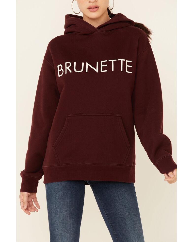 Brunette The Label Women's Burgundy Logo Pullover Hoodie , Burgundy, hi-res