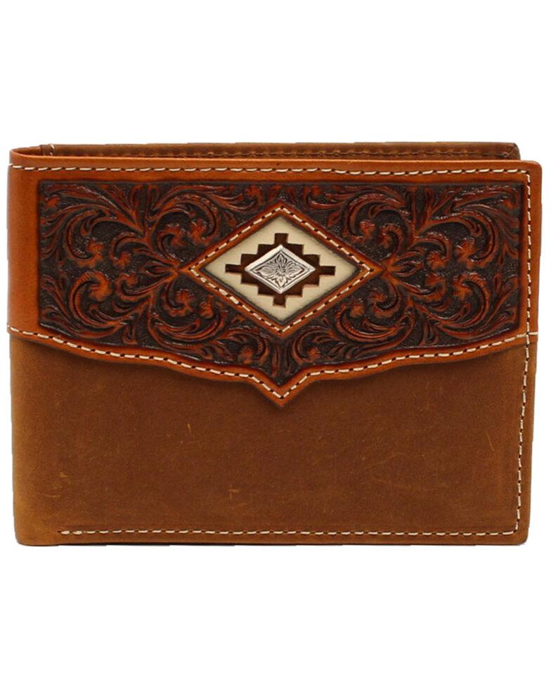 Ariat Men's Scalloped Overlay Bifold Wallet, Brown, hi-res