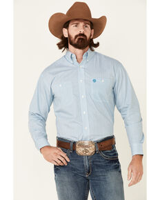George Strait By Wrangler Men's Teal Geo Print Long Sleeve Button-Down Western Shirt , Teal, hi-res
