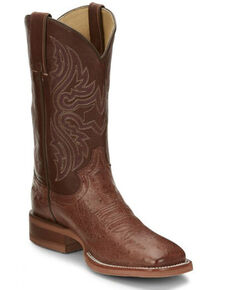 Justin Boots Women's Brown Smooth Ostrich Western Boots - Square Toe , Brown, hi-res