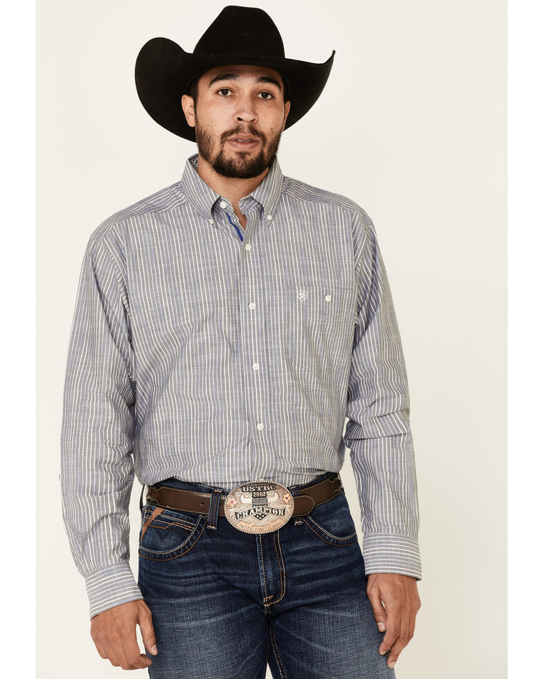 Ariat Men's Structure Stretch Striped Long Sleeve Western Shirt , Grey, hi-res