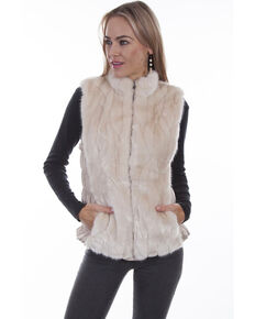 Honey Creek by Scully Women's Grooved Reversible Faux Fur Vest, Ivory, hi-res