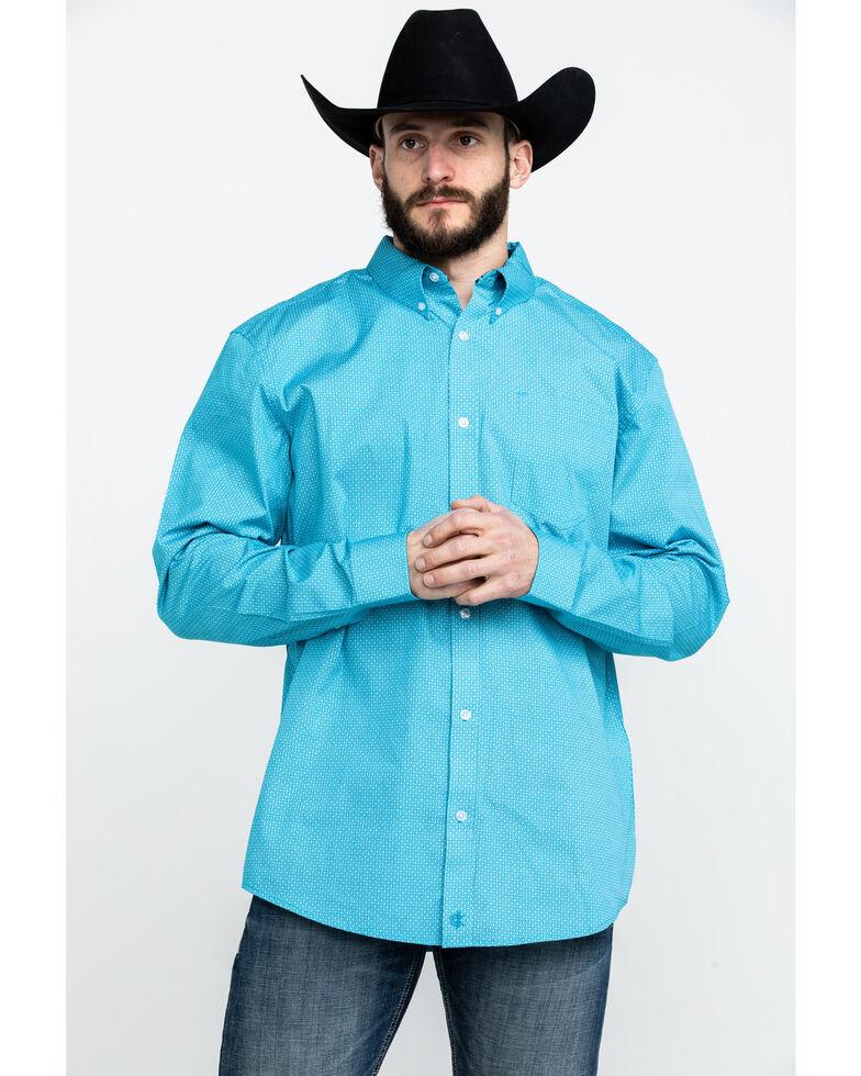 Cody James Core Men's Blurred Vision Geo Print Long Sleeve Western Shirt , Turquoise, hi-res