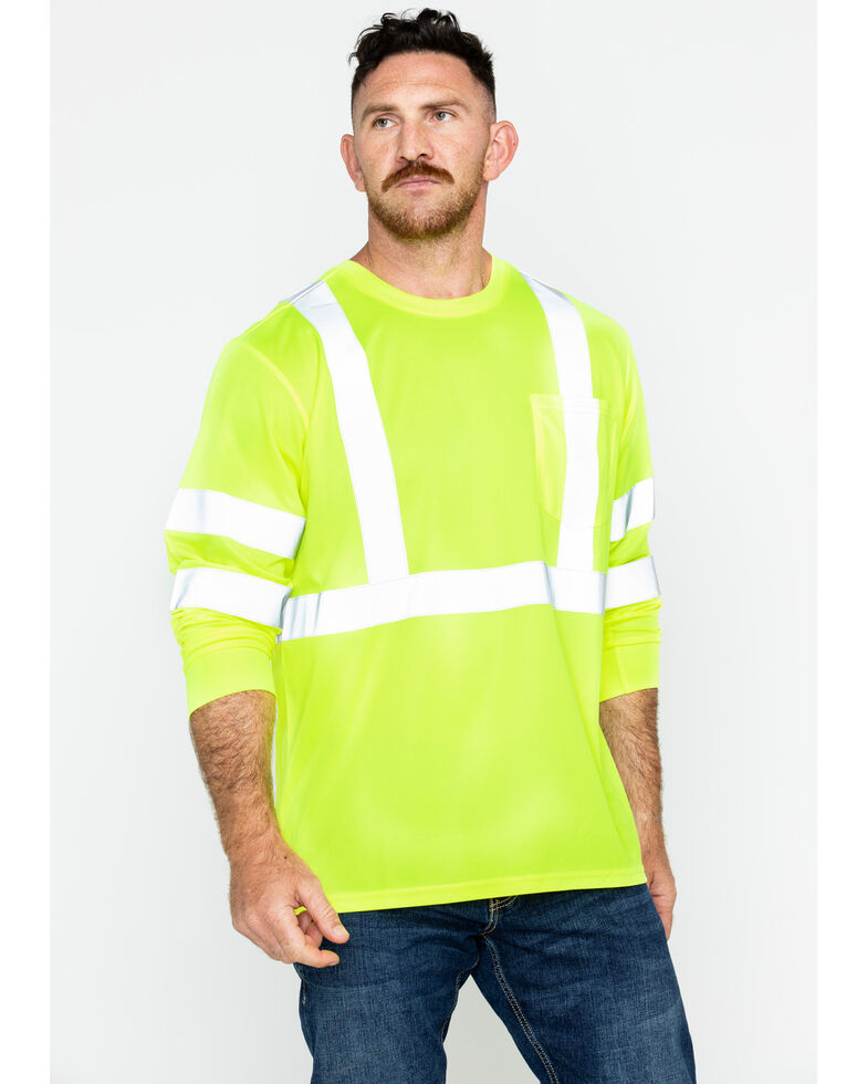 Hawx Men's Reflective Long Sleeve Work Tee - Big & Tall, Yellow, hi-res