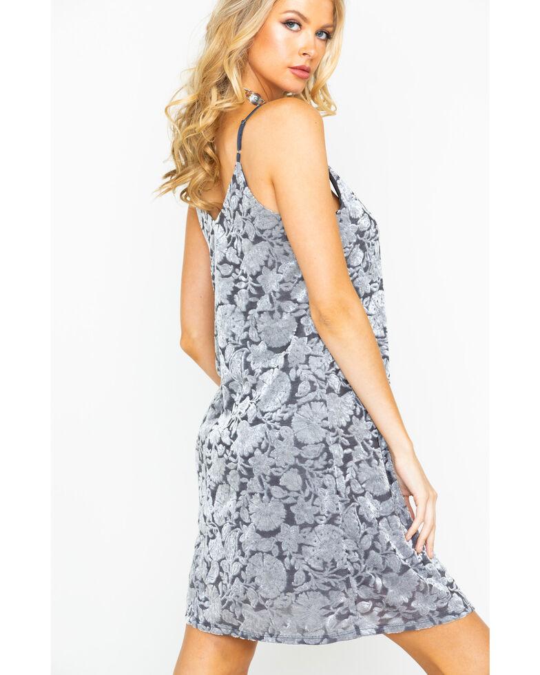 Eyeshadow Women's Flocked Velvet Dress, Grey, hi-res