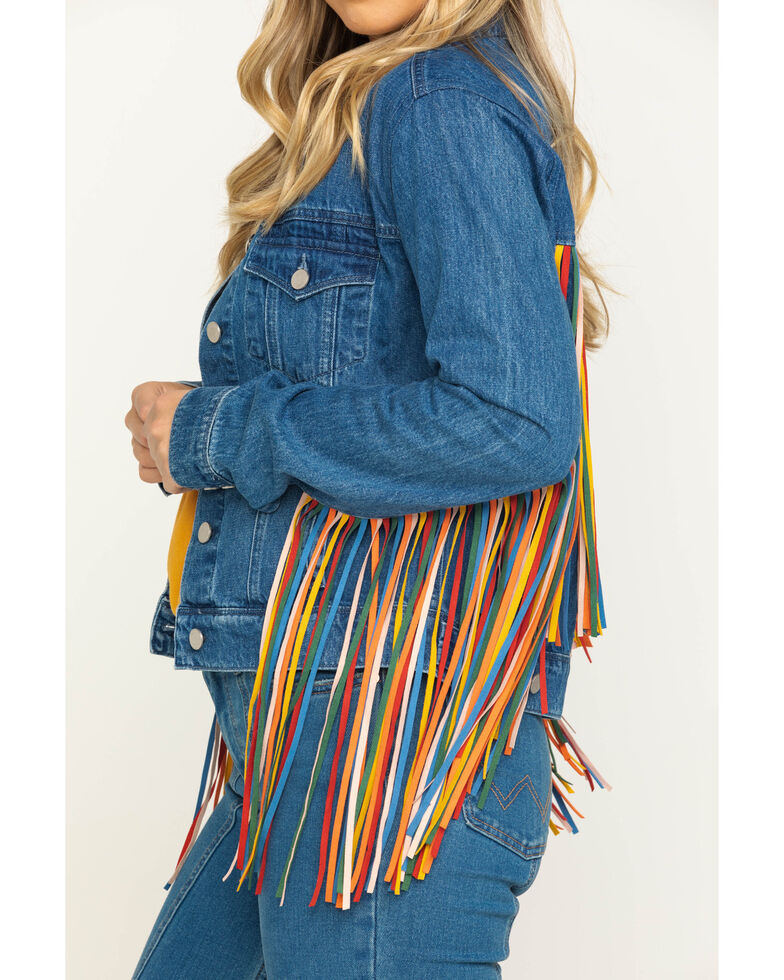 Honey Creek by Scully Women's Serape Colored Fringe Denim Jacket, Multi, hi-res
