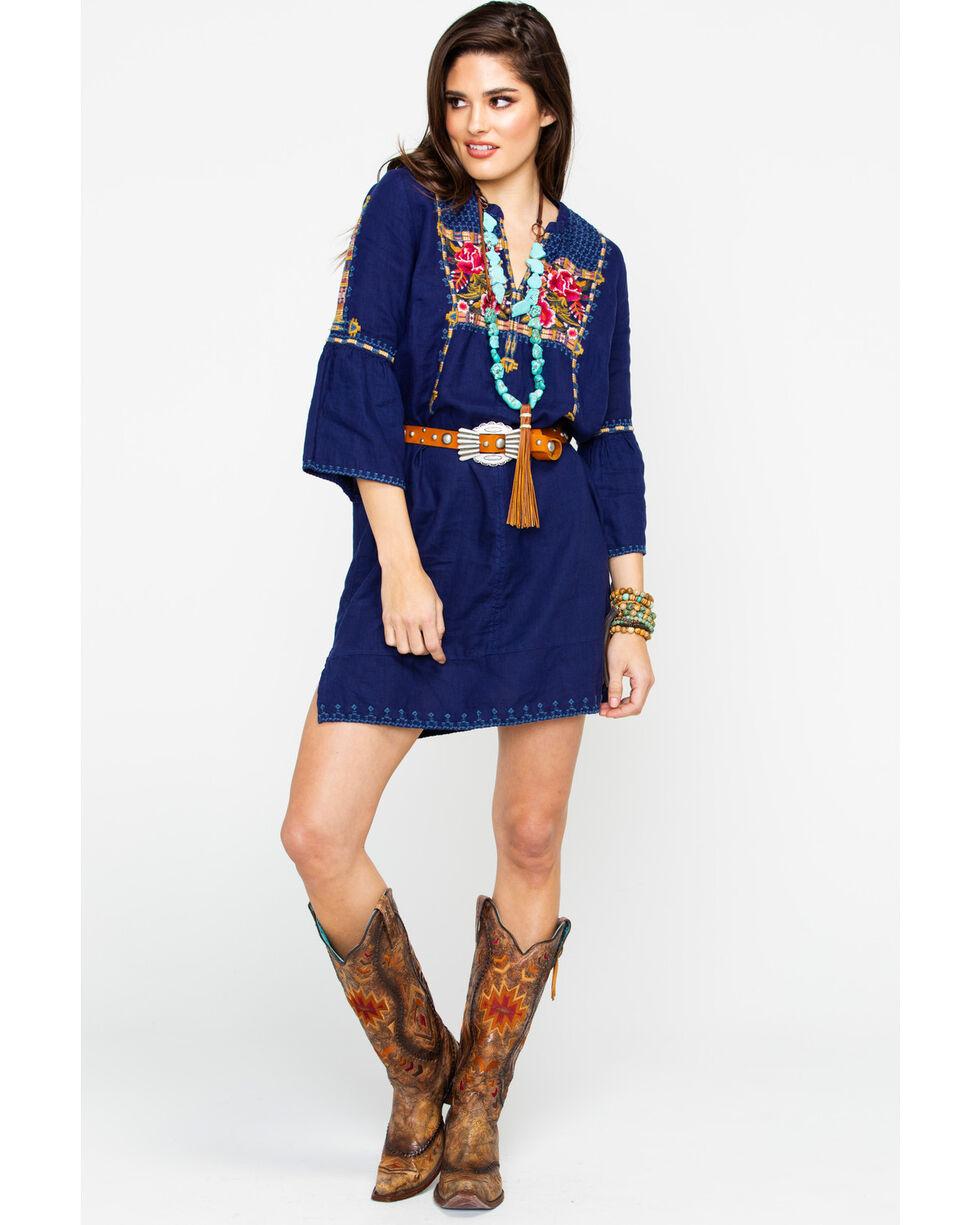 Johnny Was Women's Axton Flute Sleeve Tunic Dress , Navy, hi-res