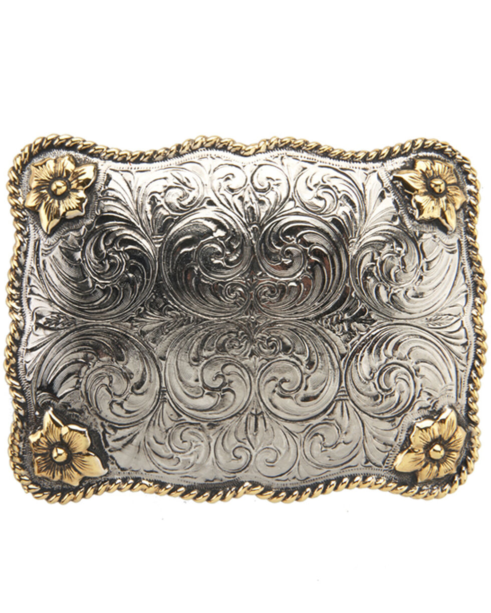 AndWest Men's Large Rectangular Scallop Rope & Floral Belt Buckle, Two Tone, hi-res