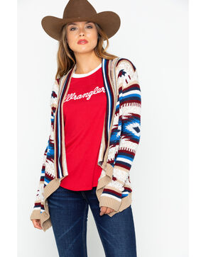 Rock and Roll Cowgirl Women's Americana Aztec Open Cardi Sweater , Tan, hi-res
