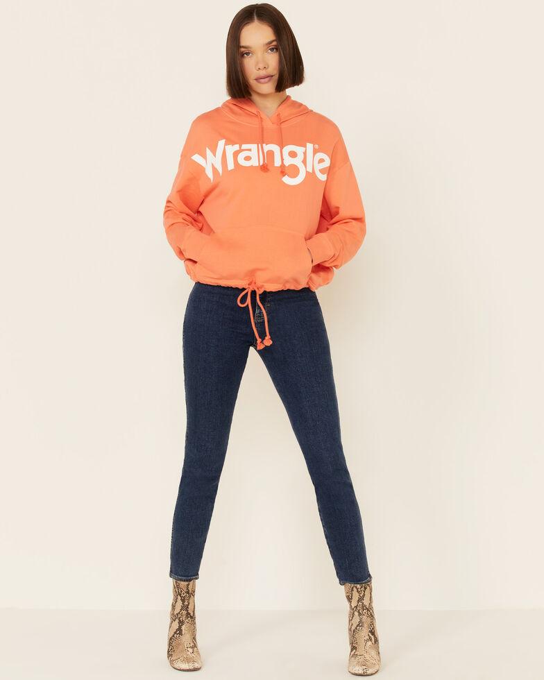 Wrangler Women's Cinch Waist Logo Graphic Crop Hoodie, Coral, hi-res