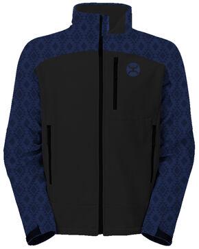HOOey Men's Blue Aztec Print Softshell Zip-Up Athletic Jacket , Black/blue, hi-res