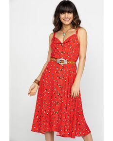 Nikki Erin Women's Red Floral Button Down Midi Dress, Red, hi-res
