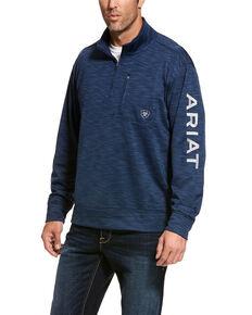 Ariat Men's Black Team Logo 1/4 Zip Fleece Sweatshirt , Indigo, hi-res