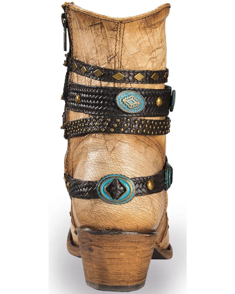 Corral Women's Ivory Bone Zipper and Studded Harness Boots - Medium Toe, Beige/khaki, hi-res