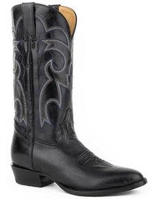Roper Men's Parker Black Western Boots - Round Toe, Black, hi-res