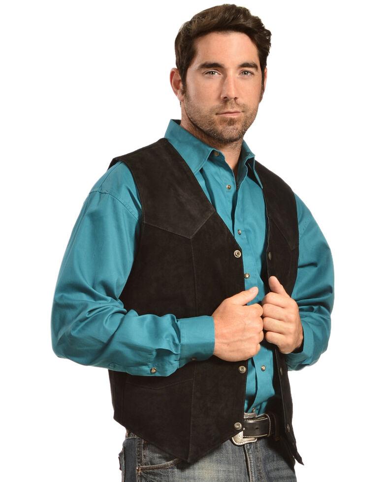 Liberty Wear Men's Suede Western Vest - Big, Black, hi-res