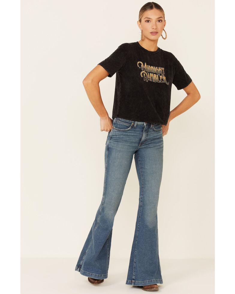 Rock & Roll Denim Women's Midnight Rambler Graphic Short Sleeve Crop Tee , Black, hi-res