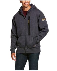 Ariat Men's Heather Charcoal Rebar Workman Zip-Front Hooded Work Sweatshirt , Charcoal, hi-res