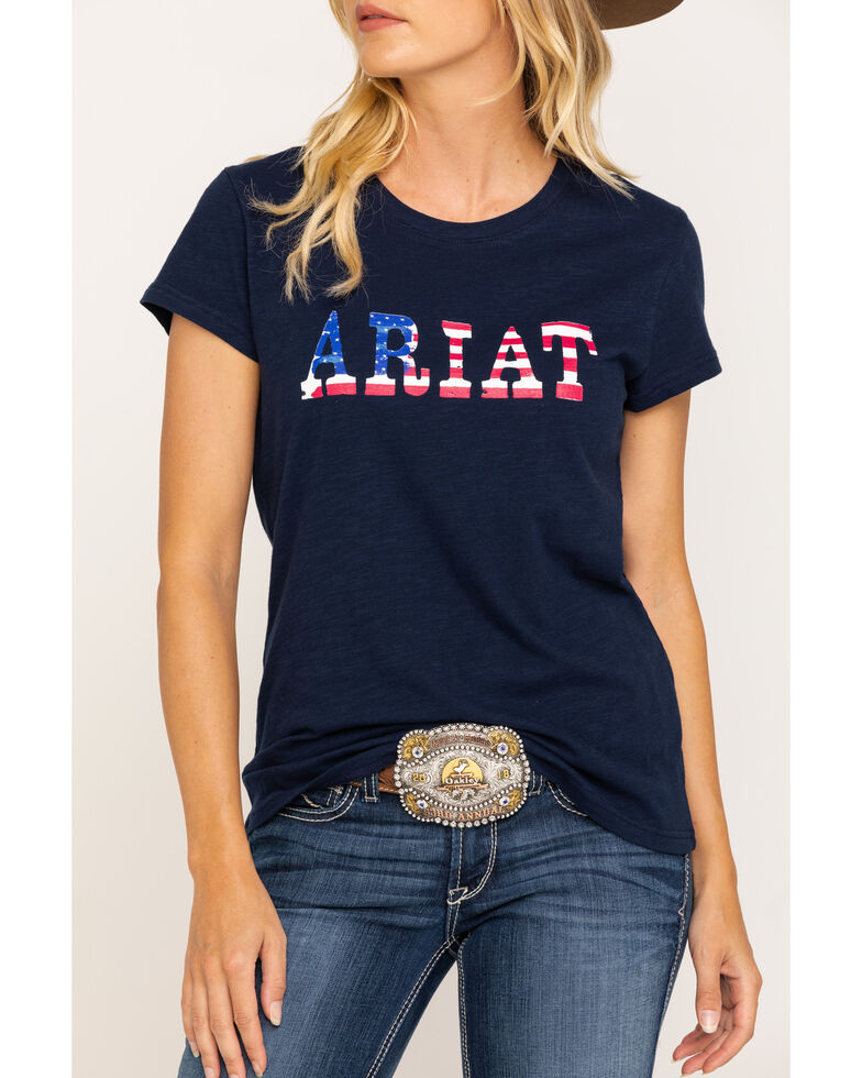 Ariat Women's R.E.A.L. Stars Tee, Navy, hi-res