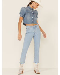 Levi's Women's 501 Jamba Blues Light Wash High Rise Crop Jeans , Blue, hi-res