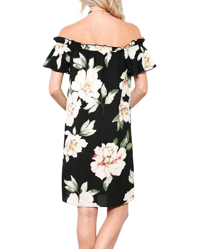 CES FEMME Women's Black Floral Printed Shoulder Dress , Black, hi-res