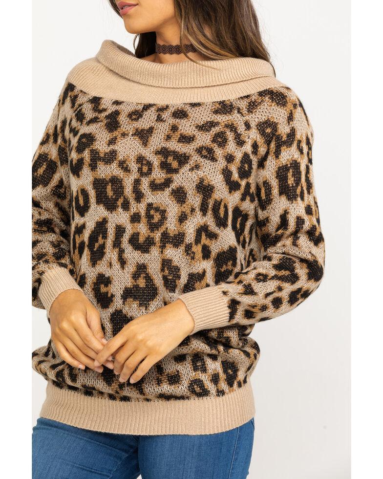 Others Follow Women's Off Shoulder Milo Tunic Sweater, Leopard, hi-res