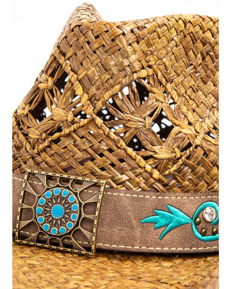 Shyanne Women's Mena Concho Straw Hat, Natural, hi-res
