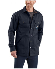 Carhartt Men's Solid Navy Ripstop Flannel-Lined Snap-Front Work Shirt Jacket - Tall, Navy, hi-res