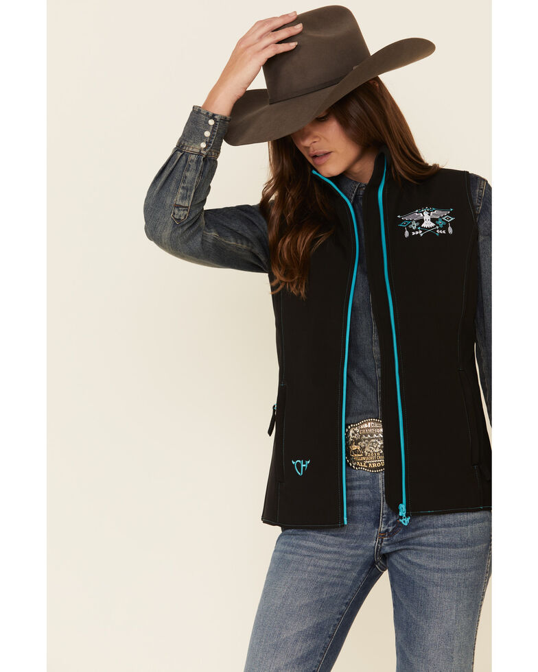 Cowgirl Hardware Women's Black Hawk Embroidered Soft Shell Vest , Black, hi-res