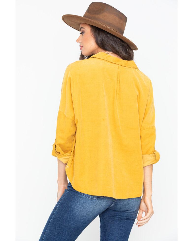 White Crow Women's Corduroy Button Down Shirt , Dark Yellow, hi-res