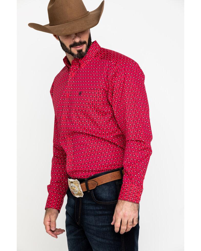 Ariat Men's Kilgore Aztec Print Long Sleeve Western Shirt - Big , Red, hi-res