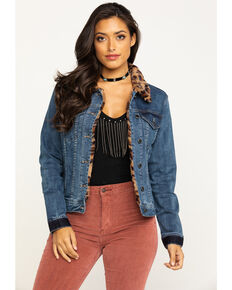 Grace in LA Women's Leopard Trim Denim Jacket, Blue, hi-res