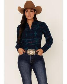 Ariat Women's R.E.A.L Billie Jean Aztec Print Long Sleeve Button-Down Western Core Shirt , Navy, hi-res