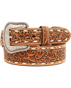 Nocona Men's Buck Lace Floral Embossed Belt, Tan, hi-res