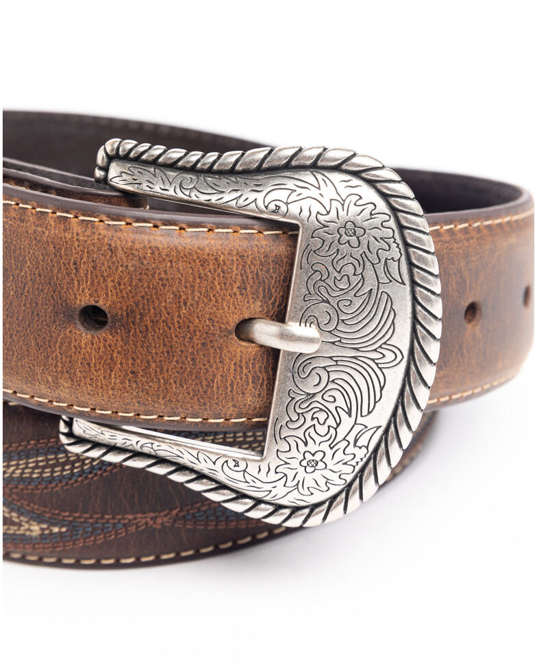 Cody James Men's Turquoise Stitched Longhorn Buckle Belt, Brown, hi-res