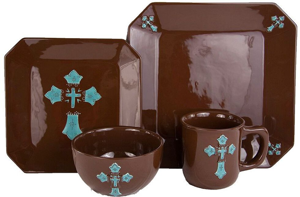 HiEnd Accents Cross Dinnerware Set, Brown, hi-res