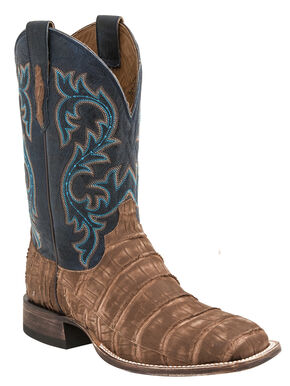 Lucchese Men's Handmade Malcolm Alligator Western Boots - Square Toe, Tan, hi-res