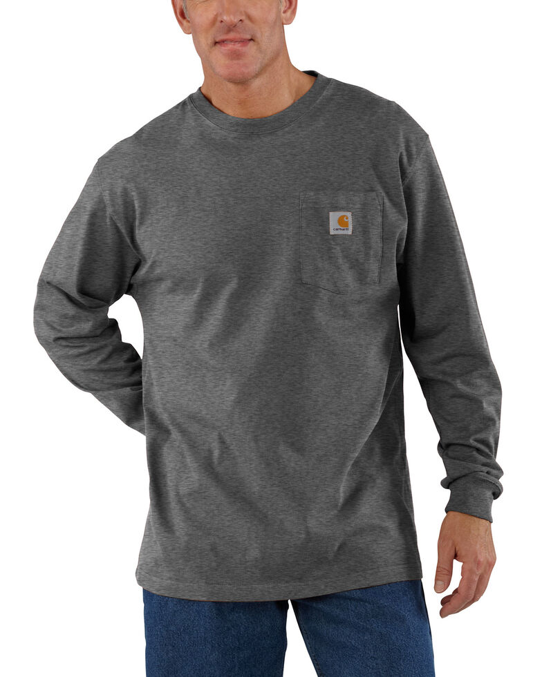 Carhartt Men's Pocket Long Sleeve Work Shirt - Tall, Medium Grey, hi-res