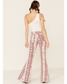Saints & Hearts Women's Snake Print Flare Jeans, Burgundy, hi-res