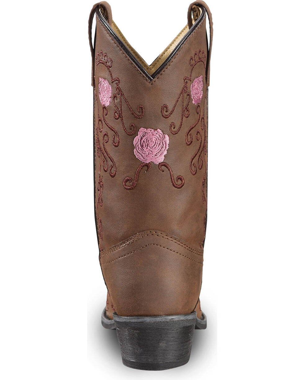 Shyanne Girls' Floral Embroidered Western Boots - Pointed Toe, Brown, hi-res