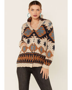 Cotton & Rye Women's Ivory Aztec Print Button Down Sweater, Ivory, hi-res