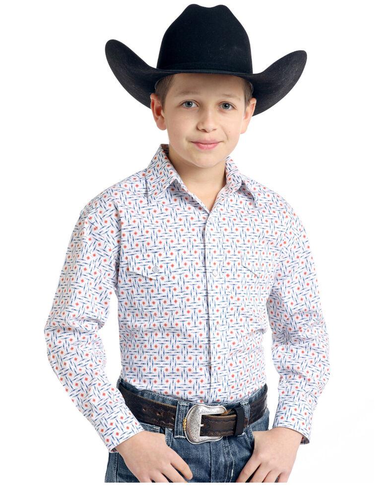 Rough Stock by Panhandle Boys' White Ramah Vintage Print Long Sleeve Western Shirt , White, hi-res