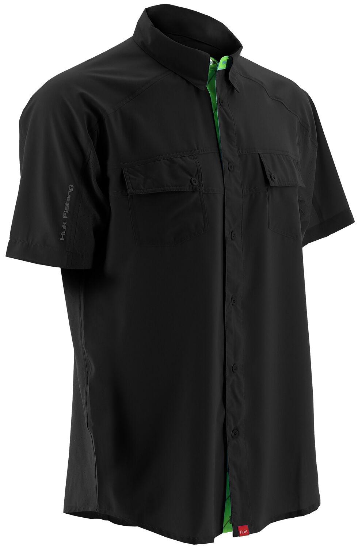 Huk Performance Fishing Men's Next Level Woven Short Sleeve Shirt , Black, hi-res