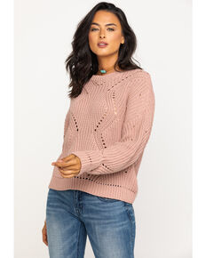 Rag Poets Women's Butler Cable Knit Sweater, Blush, hi-res
