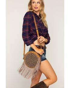 Shyanne Women's Patina Studded Fringe Crossbody Bag, Brown, hi-res