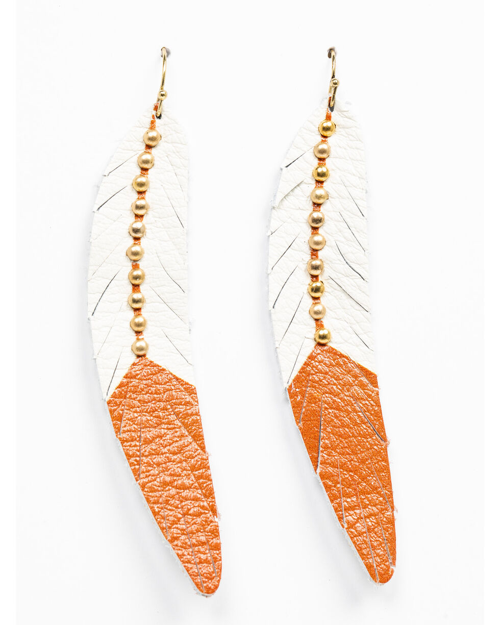 Shyanne Women's Wanderlust Leather Feather Tonal Earrings, Tan/copper, hi-res