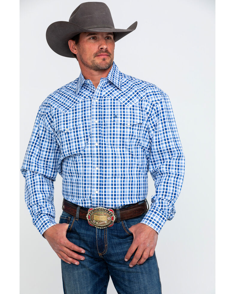 f174194997f5a Stetson Men s Small Check Plaid Long Sleeve Western Shirt - Country ...
