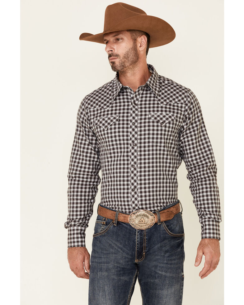 Stetson Men's Wine Ombre Check Plaid Long Sleeve Snap Western Shirt , Maroon, hi-res