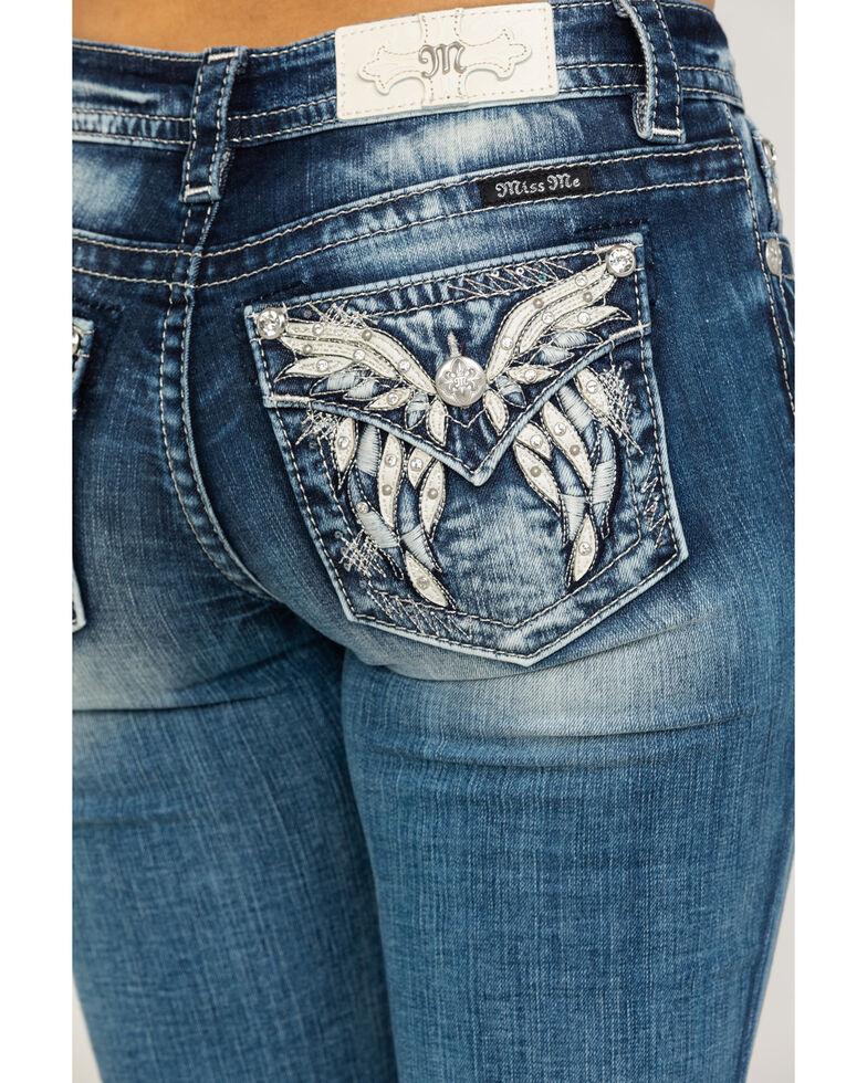 Miss Me Women's Medium Wash Faux Flap Butterfly Bootcut Jeans, Blue, hi-res